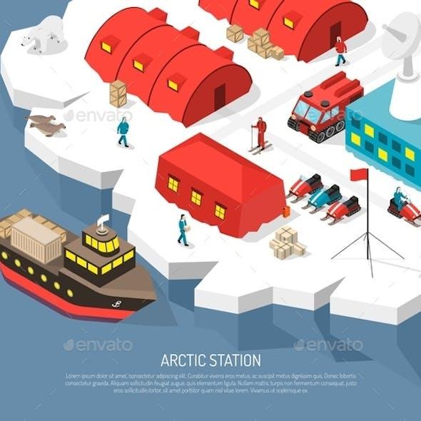 Arctic Polar Station Isometric Poster