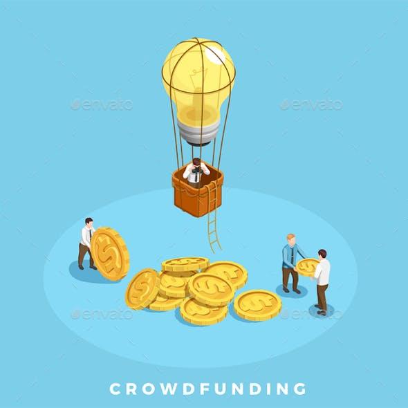 Crowdfunding and Money Illustration