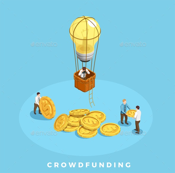 Crowdfunding and Money Illustration - People Characters