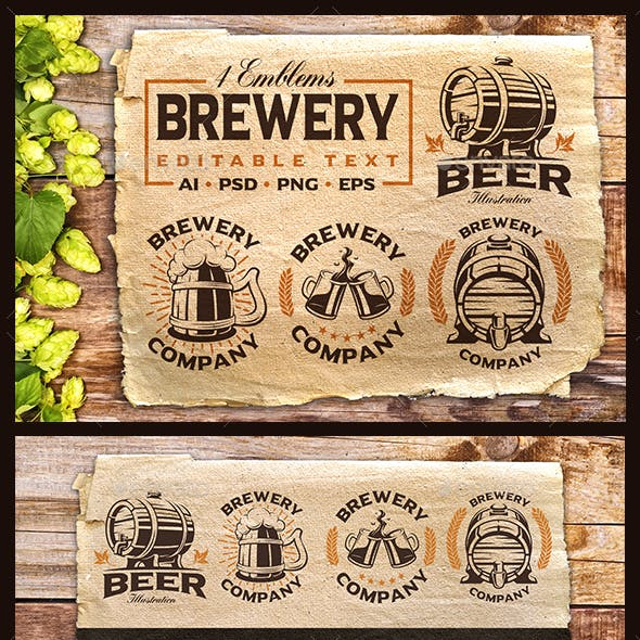 Set of Vintage Beer Emblems.