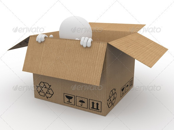 Man Hiding in a Cardboard Box - 3D Backgrounds