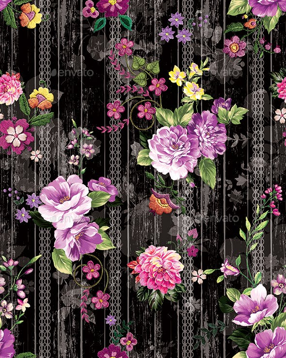 Seamless Flowers Pattern With Black Background for Textile Prints.