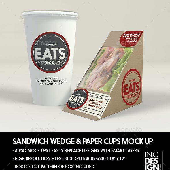 Packaging  Mock Up Sandwich Wedge Box and Soda Paper Cup Set