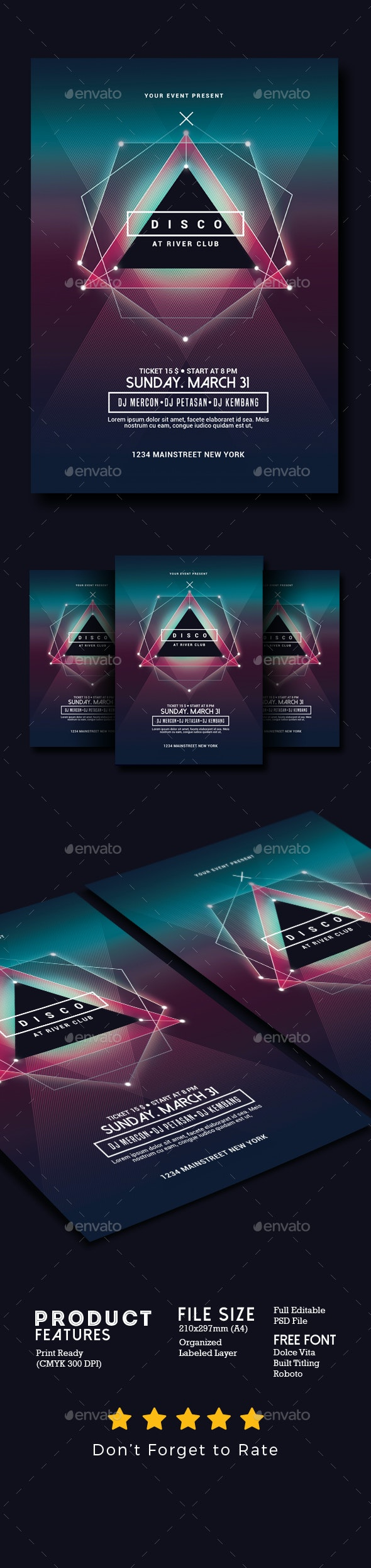 Electro Disco Music Flyer - Clubs & Parties Events