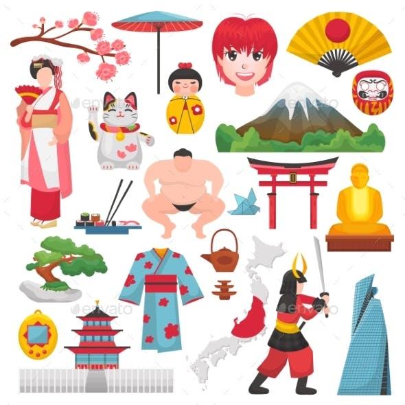 Japan Vector Japanese Culture and Geisha in Kimono