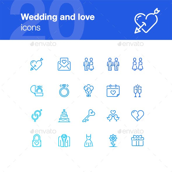 20 Wedding and Love Icons