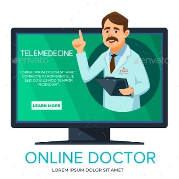 Vector Cartoon Online Doctor Consultation