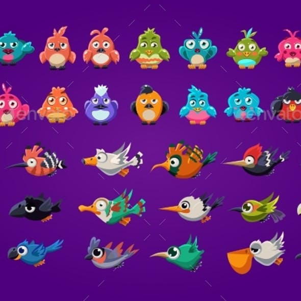 Set of Cartoon Birds.