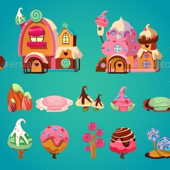 Vector Set of Sweet Landscape Elements for Fantasy