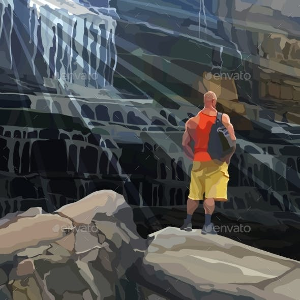 Cartoon Athletic Man Stands on a Rock