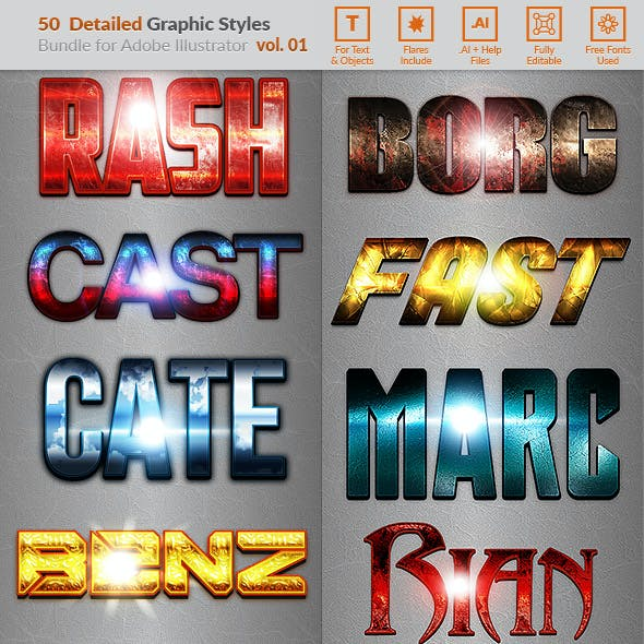 50 Detailed Text Effects - Bundle Vol. 01