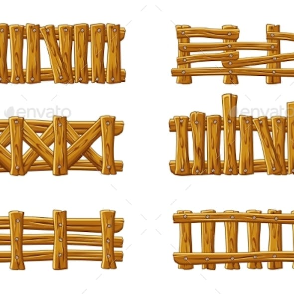 Different Types of Wooden Fences Cartoon Set