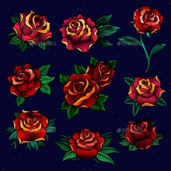 Red Roses with Green Leaves Set