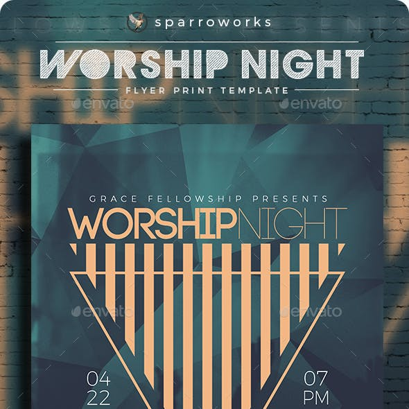 Modern Minimalist Worship Night Flyer Template