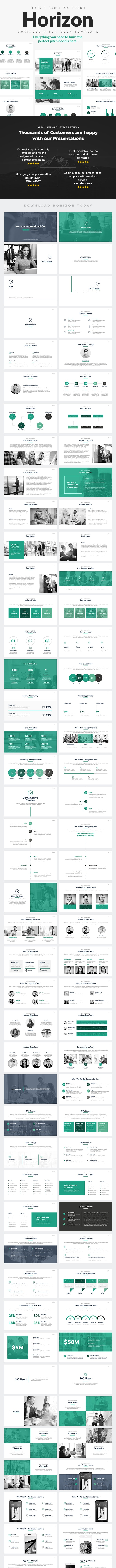 Horizon Business Pitch Deck PowerPoint Template - PowerPoint Templates Presentation Templates