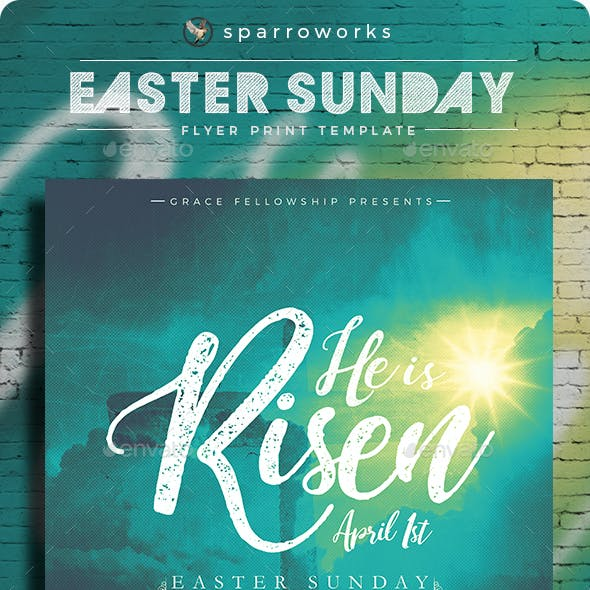 He is Risen Easter Flyer Print Template