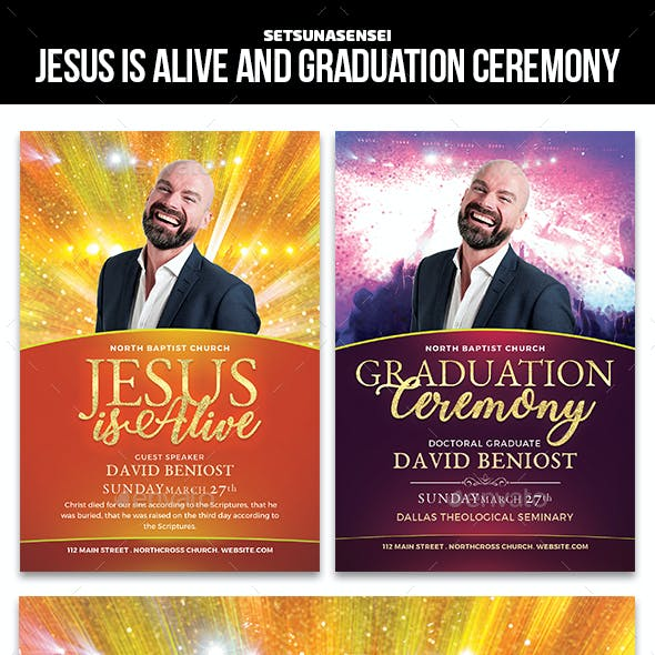 Jesus is Alive and Graduation Ceremony Church Flyer