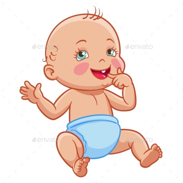 Vector Cartoon Infant Baby Sitting Smiling Diaper