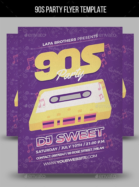 90s Party Flyer Template - Events Flyers