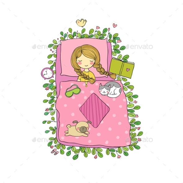 Girl, Cats and Dog Sleep in Bed. Good Night.