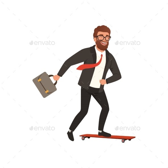 Cheerful Businessman Riding Fast on Skateboard