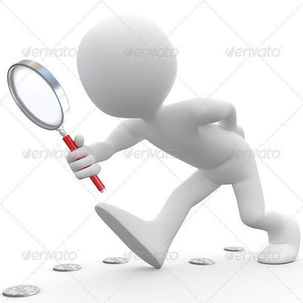 Man with Magnifying Glass Looking for Coins - 3D Backgrounds