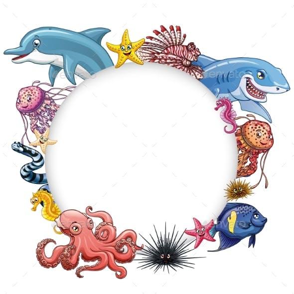 Set of Marine Animals Colorful on White