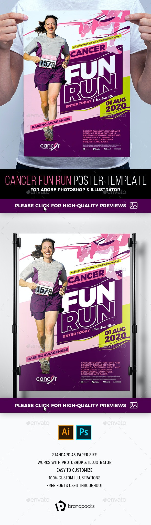A3 Cancer Benefit Poster Template - Sports Events