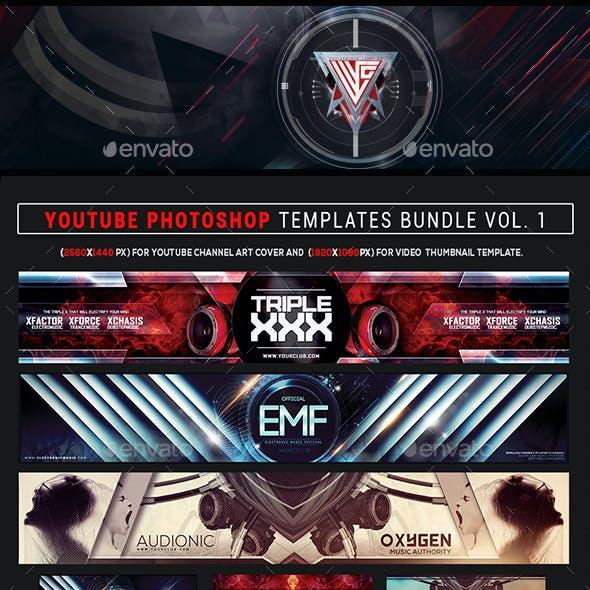 Youtube Photoshop Templates Bundle Vol. 1