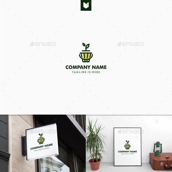 Leaf Plant Sprout Pot Logo