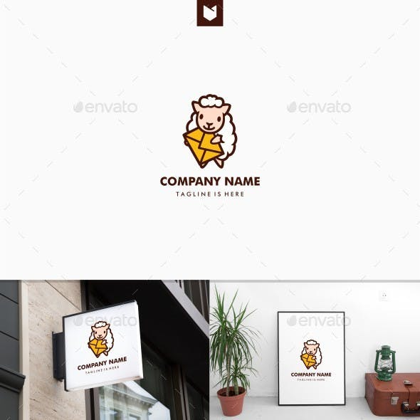 Sheep Mail Message Delivery Mascot Logo
