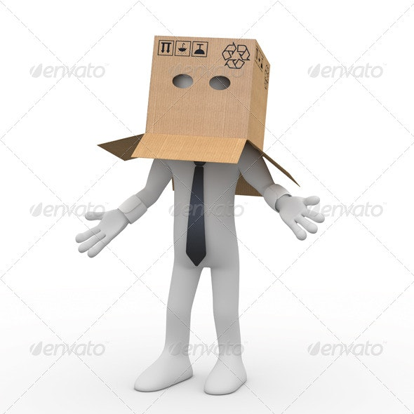 Businessman with a Cardboard Box over his Head - 3D Backgrounds