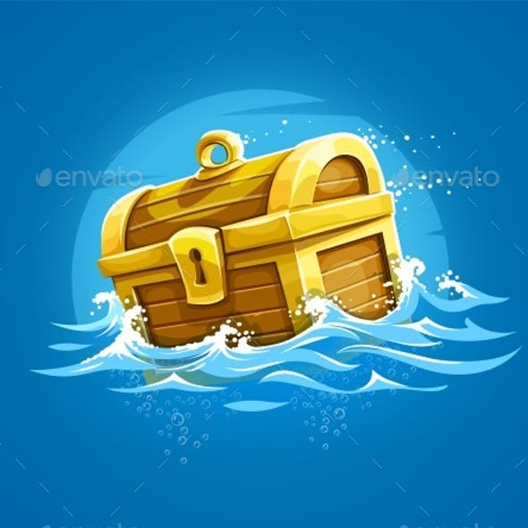 Piratic Trunk with Treasures and Gold