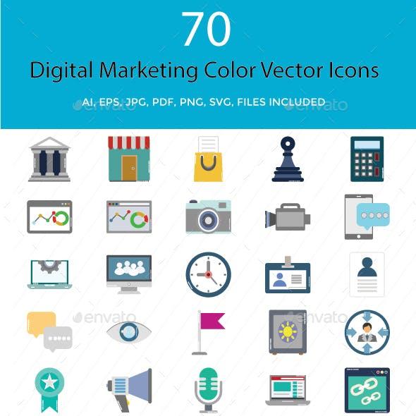 Digital Marketing Color Vector Illustration Icons