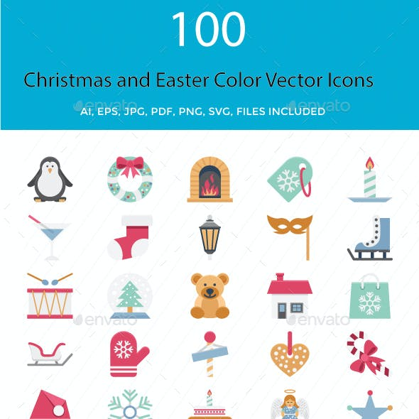 Christmas and Easter Color Vector Icons