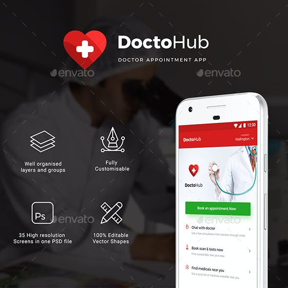 Doctor Appointment booking app, Medical App UI Kit | DoctoHub