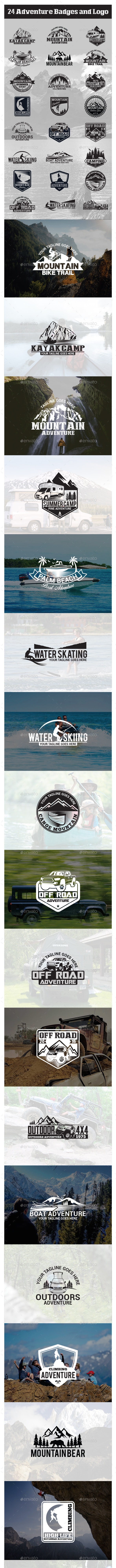 24 Adventure Badges and Logo - Badges & Stickers Web Elements
