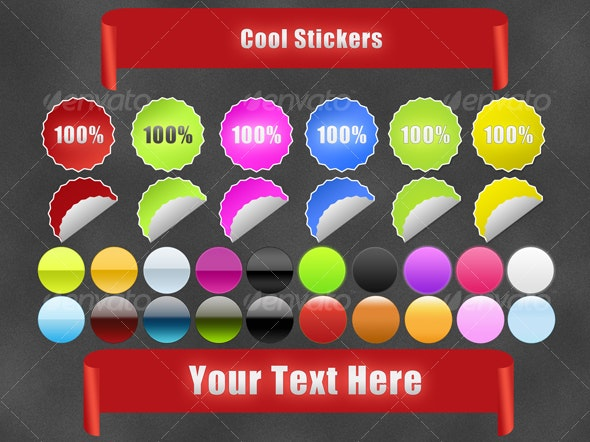 Cool Stikers and gradient Style - Web Elements