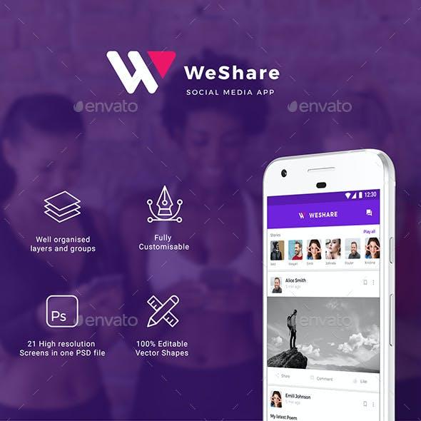 Social Media App UI Kit for Andoird & iOS | WeShare