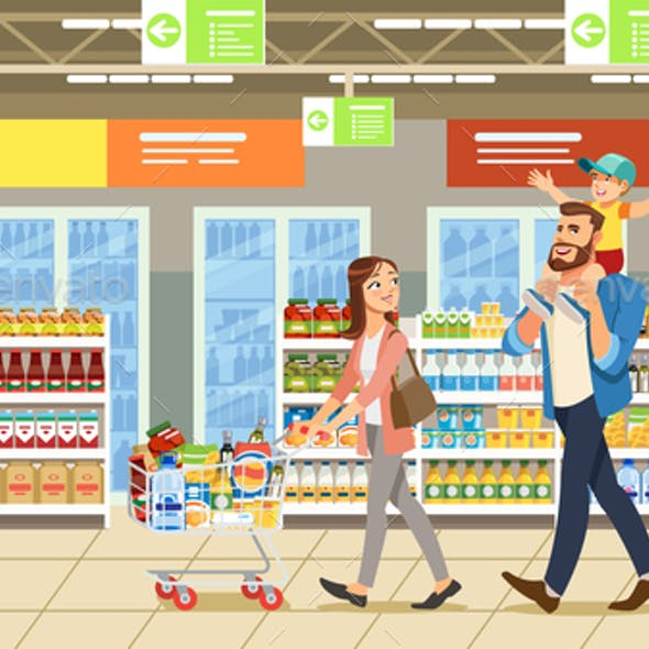 Family Shopping in Supermarket With Product Cart. Fun Cartoon Characters. Parents and Child at Shop