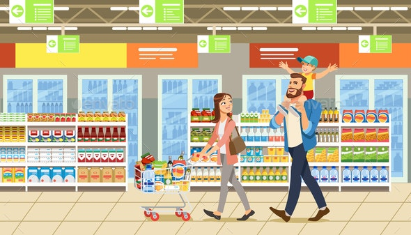 35a221eb4a9fb Family Shopping in Supermarket With Product Cart. Fun Cartoon Characters.  Parents and Child at