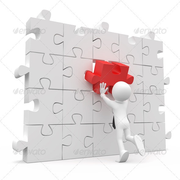 Man Putting on a Wall a Red Piece Missing - 3D Backgrounds