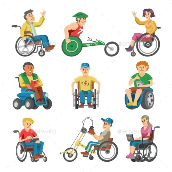 Disabled People in Wheelchair Vector Characters