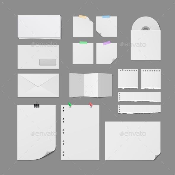 Office Paper Supplies Vector Blank Templates Set