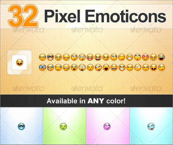 Pixel Emoticons - Characters Icons