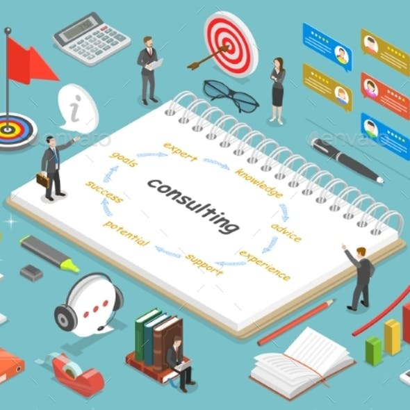 Consulting Flat Isometric Vector Concept