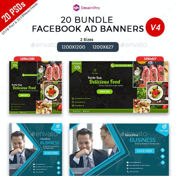 20 Facebook Ad Banners V4 Bundle - AR