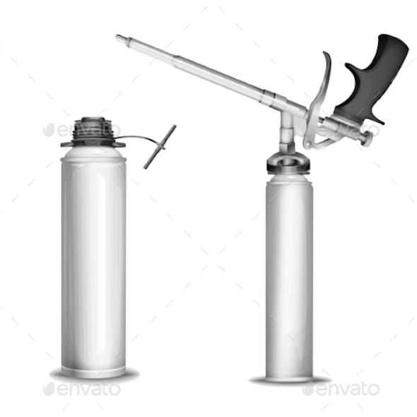 Construction Foam Bottle Model Vector Illustration