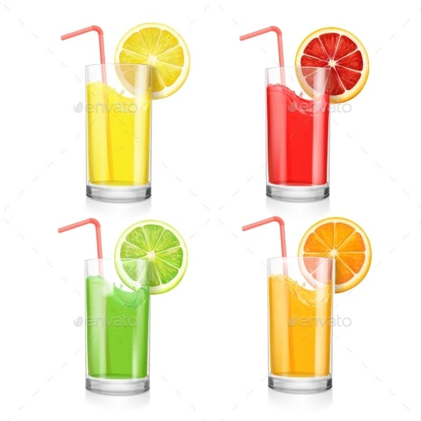 Set of Fruit Juice Cocktails in a Glass