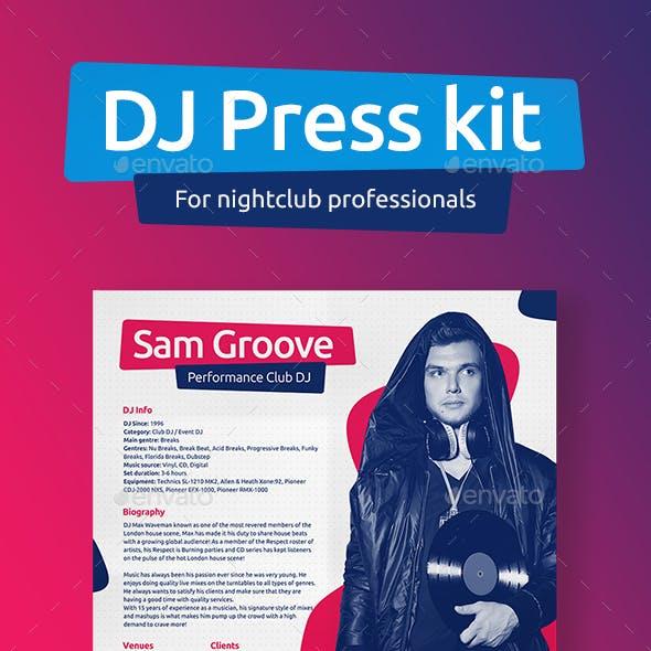 DJ Press Kit / DJ Resume / DJ Rider PSD Template